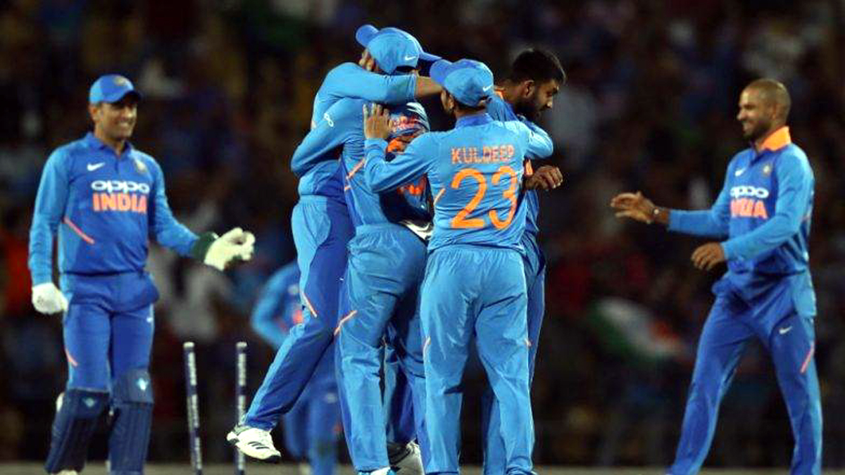 Indian players celebrating victory against Australia in the 2nd ODI at Nagpur on Tuesday.