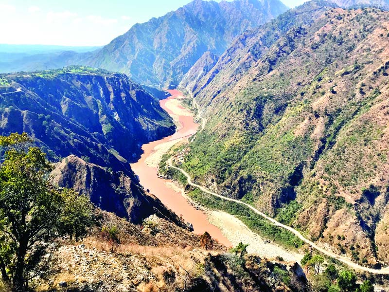 A panoramic view of Chenab river near Salal Dam in Reasi. —Excelsior/Karandeep