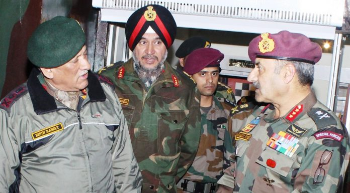 Army chief Gen Bipin Rawat, Northern Command chief Lt Gen Ranbir Singh and GOC Nagrota Corps Lt Gen Paramjit Singh at Nagrota on Saturday.