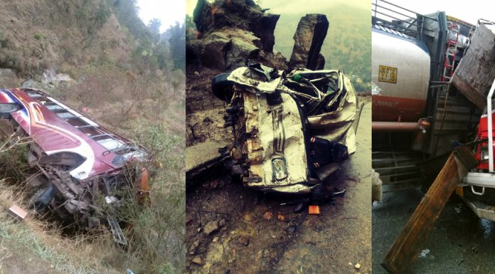 Ill-fated vehicles after accidents in Udhampur, Kishtwar and Ramban districts. —Excelsior pics by K Kumar, Tilak Raj & Parvez