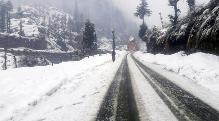 Bhaderwah experiences fresh snowfall on Saturday.