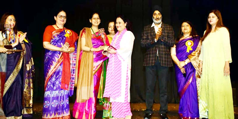 Memento presentation during an impressive function organised by Jammu Sanskriti School on Saturday.