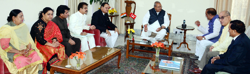 Delegation of Brahmin Organisation of India meeting Governor S P Malik on Saturday.