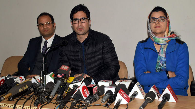 JKPM President and former IAS officer Shah Faesal addressing a press conference in Srinagar. -Excelsior/Shakeel