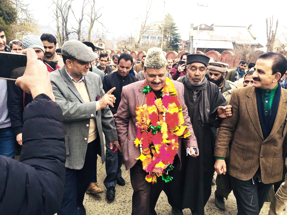 Former Minister and Senior Vice President PC during a convention of party workers at Dak Bunglow in Baramulla.