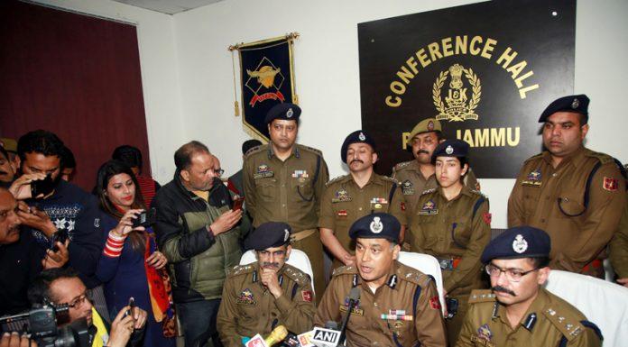 IGP Jammu M K Sinha accompanied by DIG Jammu Vivek Gupta and SSP Jammu Tejender Singh at a press conference in Jammu on Thursday. -Excelsior/Rakesh