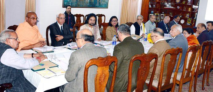 Governor Satya Pal Malik presiding over the meeting of SASB in Jammu on Thursday.