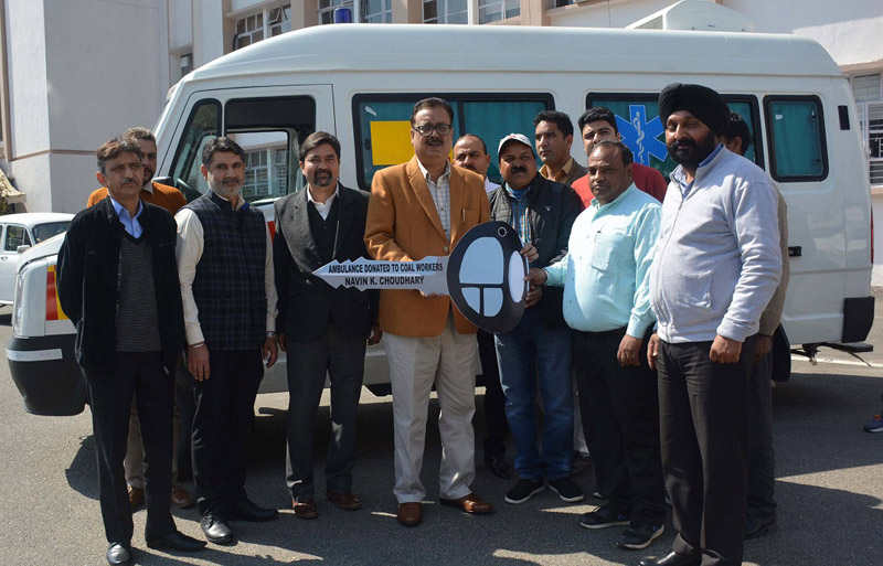 Principal Secretary Industries & Commerce Navin Choudhary handing over keys of ambulance to authorities of J&K Minerals Limited on Thursday.