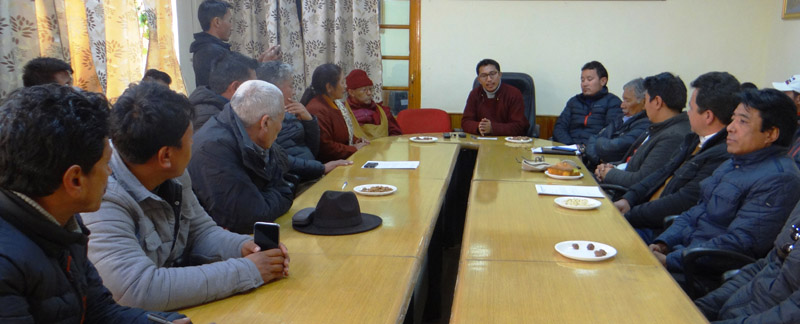 Chief Executive Councillor LAHDC, Jamyang Tsering Namgyal chairing a meeting at Leh.