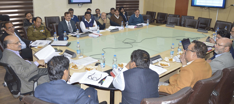 Chief Secretary BVR Subrahmanyam chairing a meeting on Thursday.
