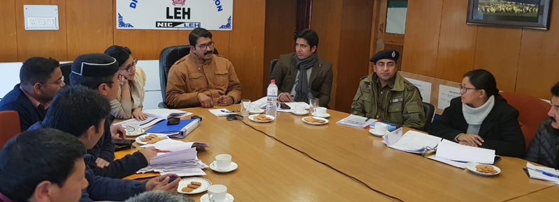 Divisional Commissioner Ladakh Saugat Biswas chairing a meeting at Leh on Thursday.