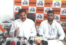 NPP leader Harshdev addressing press conference in Jammu.