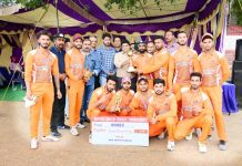 Jubilant Horizon Club players posing for a group photograph along with Commissioner/Secretary YS & Sports, Sarmad Hafeez and other dignitaries in Jammu.