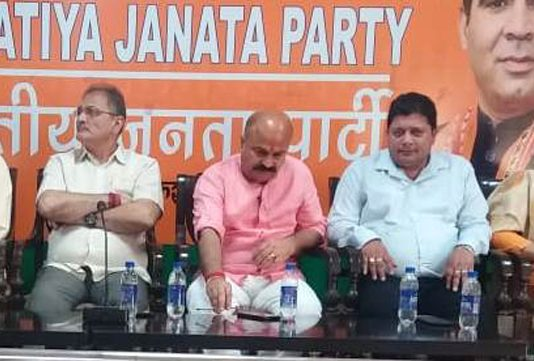 BJP leaders during a meeting in Jammu on Wednesday.