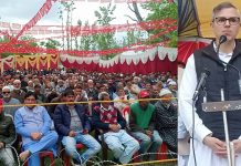 NC vice president, Omar Abdullah addressing a gathering at Wanpoh in Kulgam on Wednesday. —Excelsior/Sajad Dar