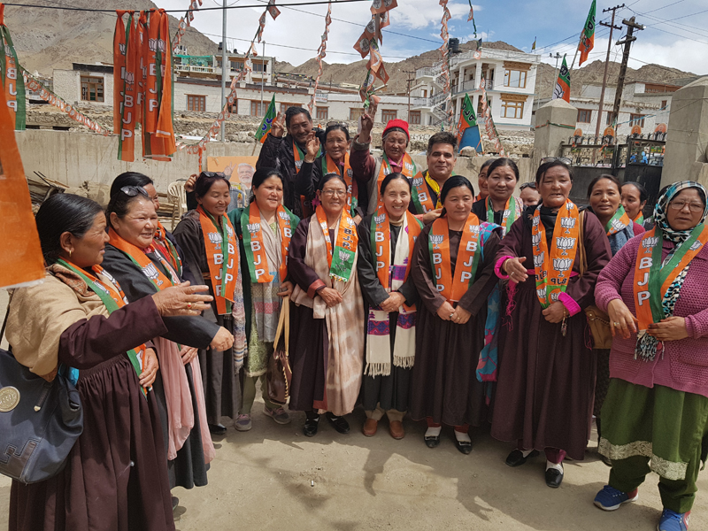 Ravinder Raina, State President BJP, during inauguration of party's Mahila Morcha campaign in Leh on Wednesday.