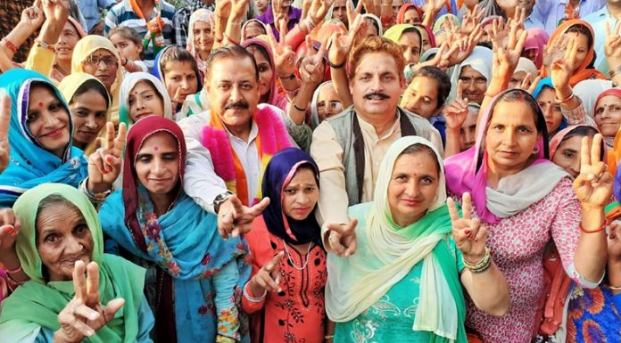 Union Minister Dr Jitendra Singh conducting Panchayat-level campaign at different spots in Basohli Assembly segment, on Tuesday.