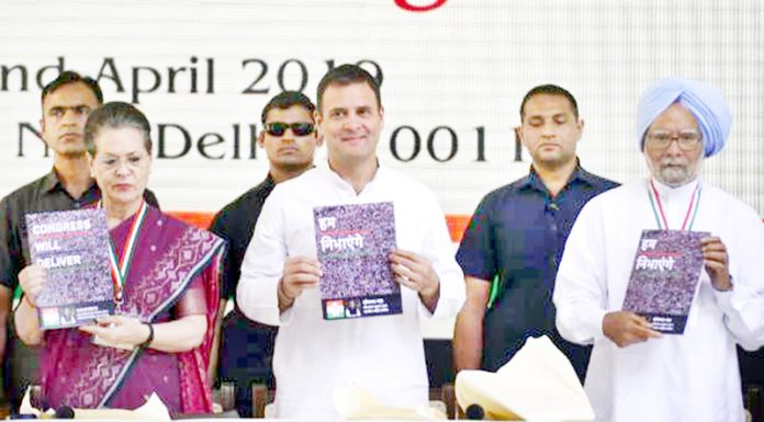 Congress leaders Sonia Gandhi, Rahul Gandhi and Dr Manmohan Singh releasing party manifesto in New Delhi on Tuesday.