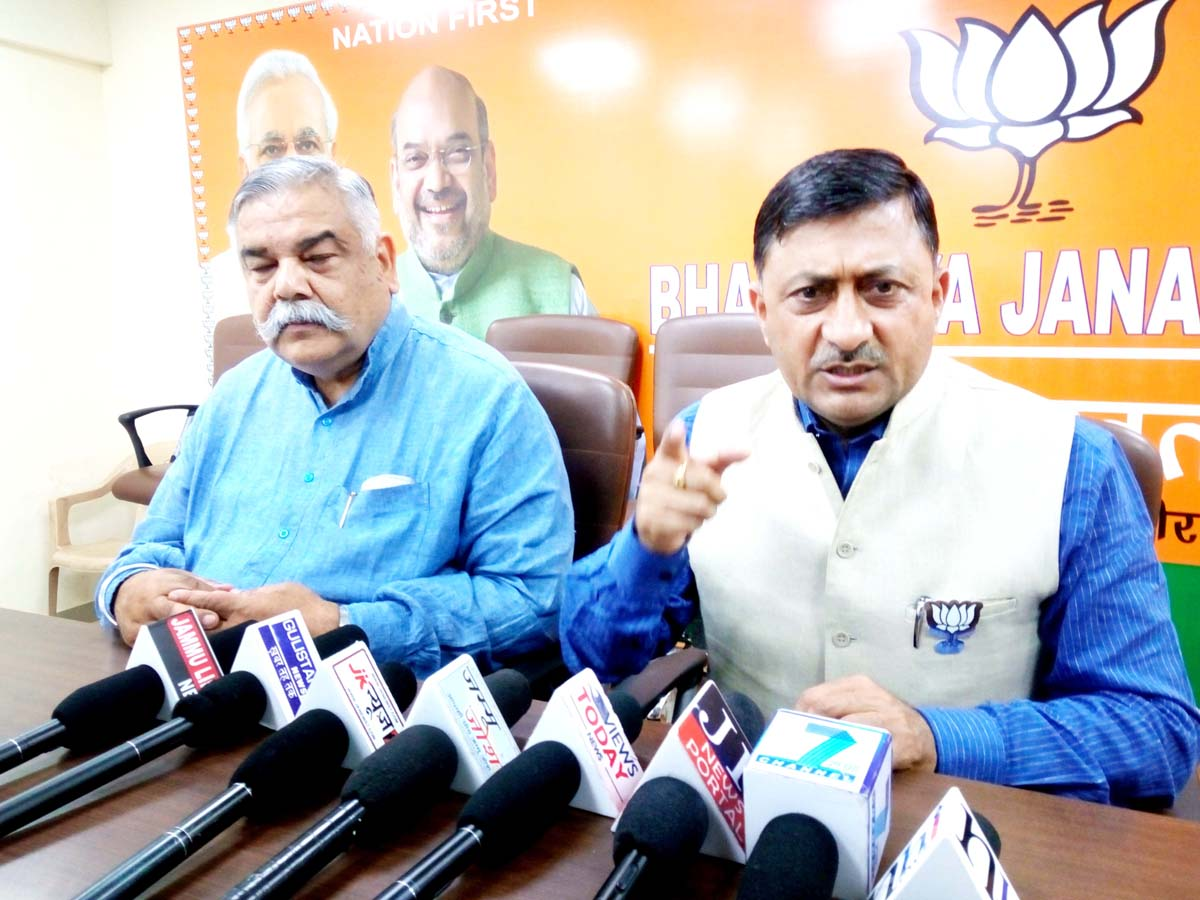 BJP leaders at a press conference at Jammu on Friday.