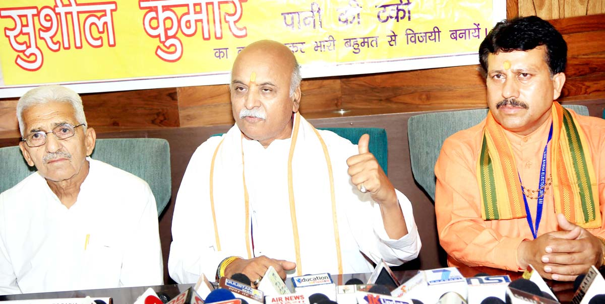 Dr Parveen Bhai Togadia, National President Hindustan Nirman Dal at a press conference at Jammu on Friday. -Excelsior/Rakesh