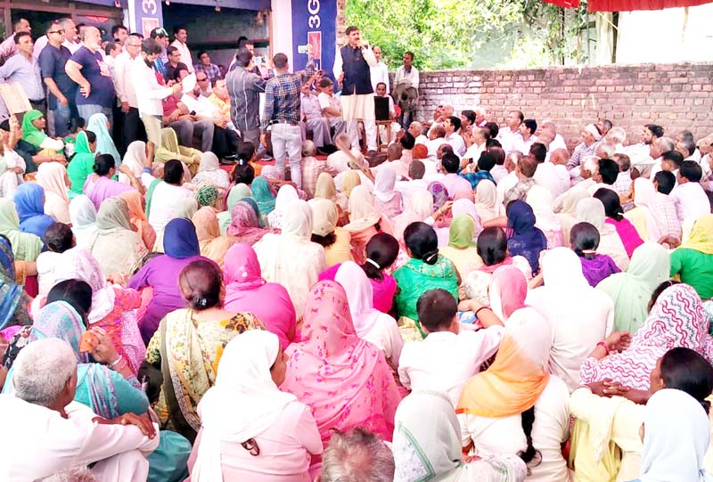 MP, Jugal Kishore Sharma addressing a public meeting in Sumb on Sunday.