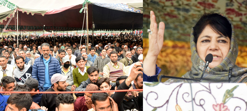 PDP president Mehbooba Mufti addressing an election rally in Budgam on Saturday. —Excelsior/Shakeel