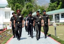 GOC Western Command Lt Gen Surinder Singh at Yol Cantonment on Monday.