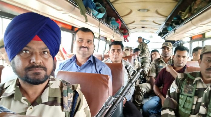 Election parties heading to a polling station amid tight security in Kathua on Wednesday. -Excelsior/Pardeep