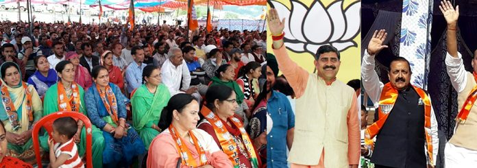 Union Home Minister Rajnath Singh and BJP candidates Dr Jitendra Singh and Jugal Kishore Sharma at two different rallies in Bhaderwah and Suchetgarh on Monday. -Excelsior pics by Rakesh & Tilak Raj