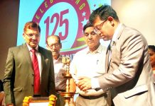 Thomas Mathew, Regional Director, Reserve Bank of India, Chander Mohan Gupta, Mayor JMC and others lighting ceremonial lamp to celebrate 125th foundation day of PNB.