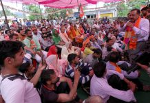 Union Minister Dr Jitendra Singh campaigning at Majalta in Ramnagar Assembly segment on Friday. -Excelsior/Rakesh