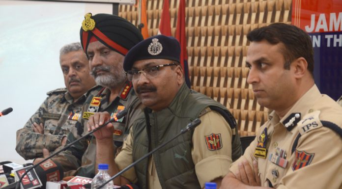 Top police, Army and CRPF officials at a press conference in Srinagar on Wednesday. —Excelsior/Shakeel