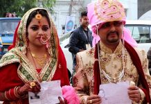Just married couple reached polling booth in Udhampur.