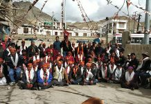 BJP activists during an election meeting at Leh on Thursday.