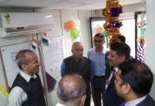 GOC 25 Div along with Axis Bank representatives inaugurating e-lobby for defence personnel at Rajouri.