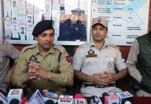 SDPO Sopore, Raja Majid addressing media persons.