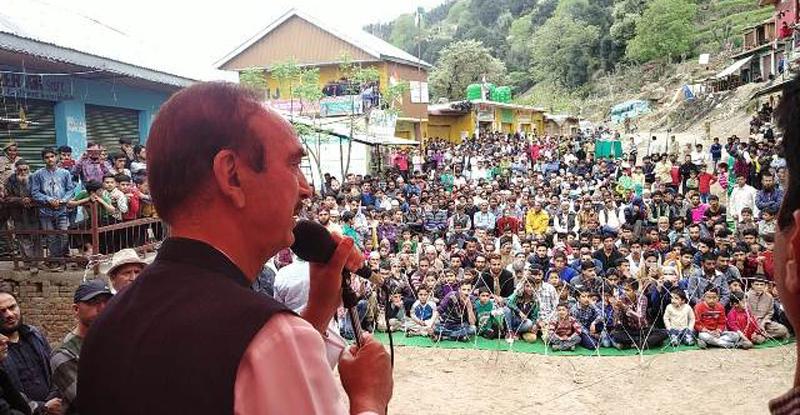 Senior AICC leader Ghulam Nabi Azad addressing public meeting in Doda on Saturday.