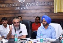 Secretary Agriculture Production Department chairing a meeting at Jammu on Thursday.