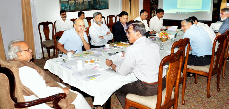 Governor Satya Pal Malik chairing meeting to review construction of bunkers in border areas.