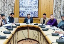 Divisional Commissioner Kashmir Baseer Ahmad Khan chairing a meeting in Srinagar on Thursday.