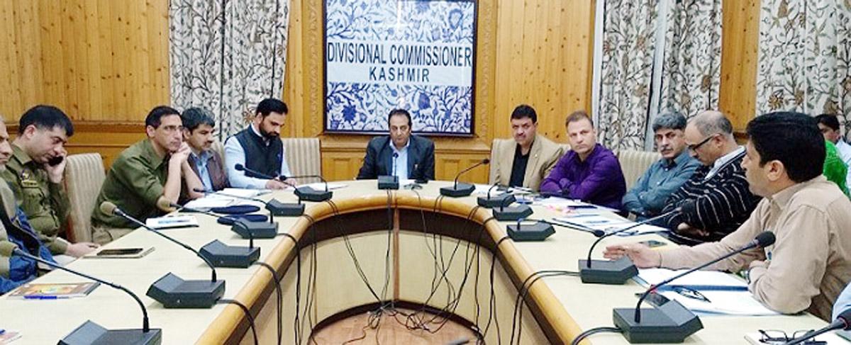 Divisional Commissioner Kashmir Baseer Ahmad Khan chairing a meeting in Srinagar on Thursday.