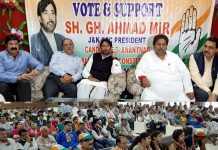 Congress leaders during an election meeting at Jammu on Wednesday.