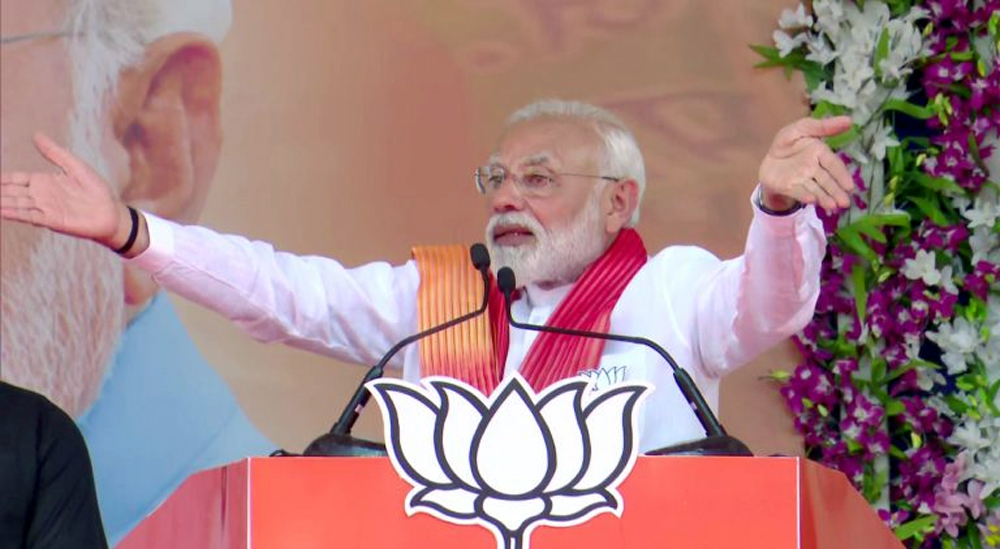 Prime Minister Narendra Modi addressing a rally at Patan on Sunday.