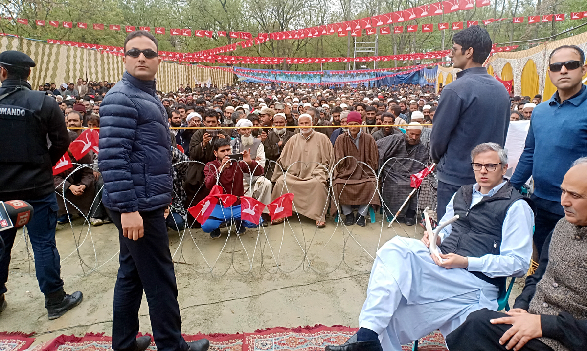 NC vice-president Omar Abdullah during a public rally at Shangus in Anantnag on Wednesday. -Excelsior/Sajad Dar