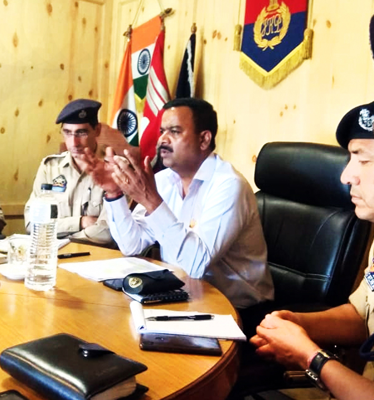 IGP Traffic Alok Kumar briefing officers and officials during a meeting at Srinagar.