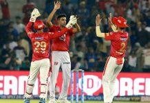 Kings XI Punjab bowlers celebrating victory against Rajasthan Royals in IPL 2019 at Mohali on Tuesday.