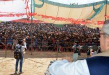 NC leader Omar Abdullah addressing an election rally at Aishmuqam in Anantnag on Sunday. —Excelsior/Sajad Dar