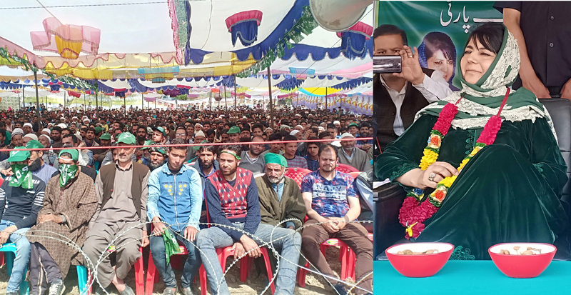 PDP president Mehbooba Mufti addressing an election rally at Larnoo, Kokernag in Anantnag on Sunday. —Excelsior/Sajad Dar
