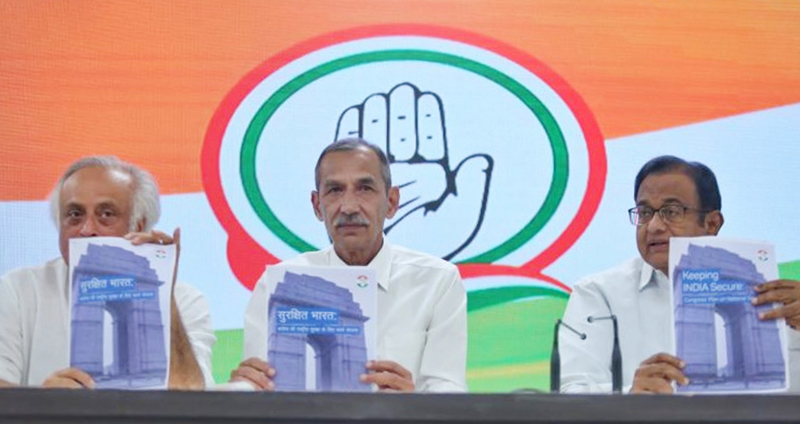 P Chidambaram, Lt Gen D S Hooda and Jairam Ramesh at a press conference in New Delhi on Sunday.
