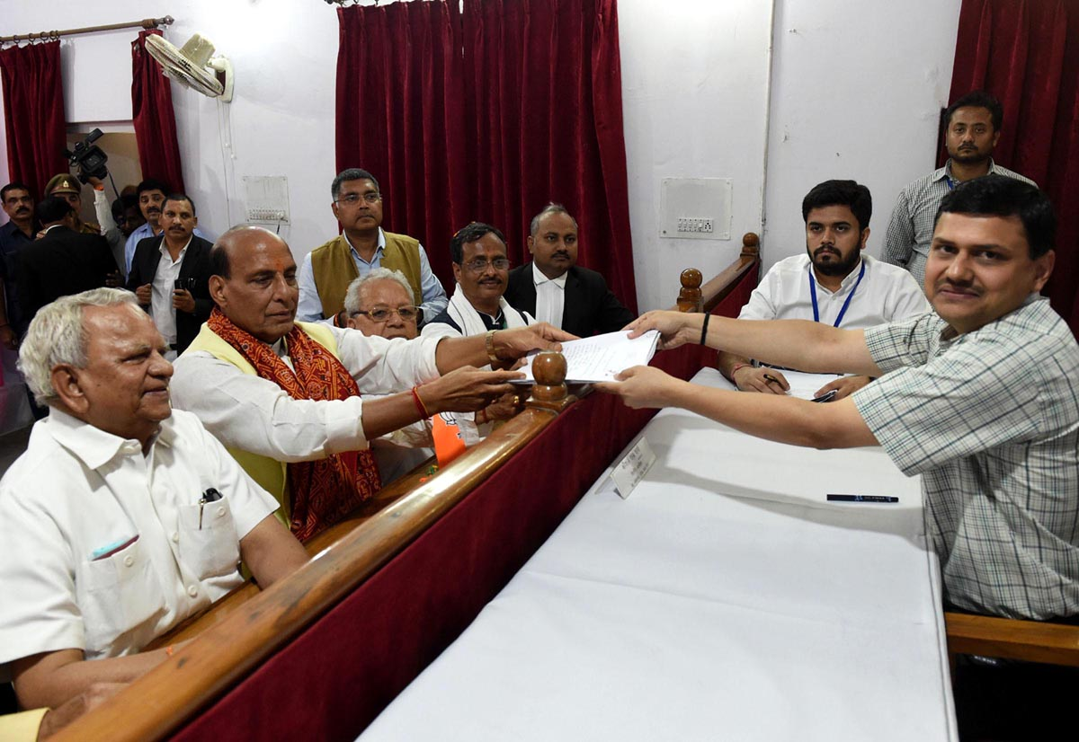 Union Home Minister and BJP candidate for Lucknow Parliamentary constituency Rajnath Singh filing his nomination, in Lucknow on Tuesday. (UNI)